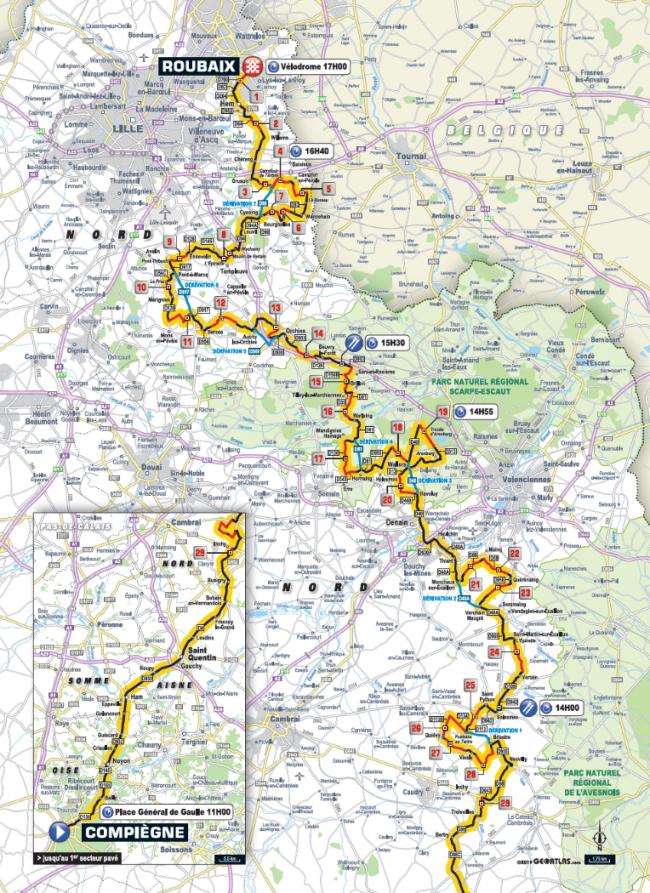 Il percorso della Parigi-Roubaix.